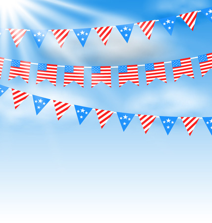 Illustration Bunting Garlands in Traditional American Colors for Independence Day - raster illustration