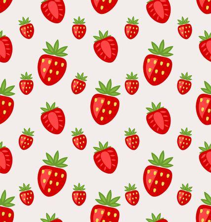 retro wallpaper: Illustration Seamless Pattern of Ripe Strawberry, Retro Wallpaper - raster Stock Photo