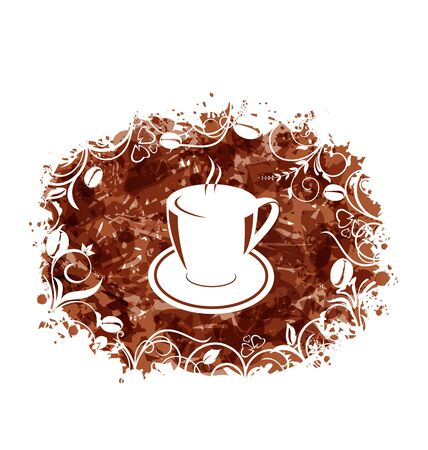encasement: Illustration Brown Grungy Banner with Coffee Cup and Beans - raster Stock Photo