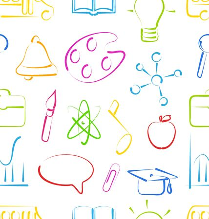 Illustration Seamless Wallpaper with Colorful Set School Objects, Doodle Style- raster illustration