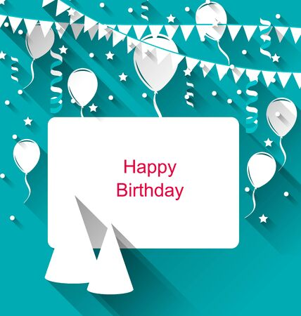 Illustration Celebration Card with Party Hats, Balloons, Confetti and Hanging Flags Pennants - raster illustration