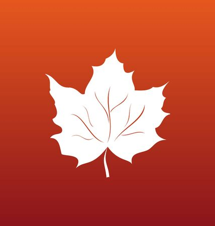 maple leaf: Illustration Maple Leaf on Orange Background, Canadian Symbol - raster