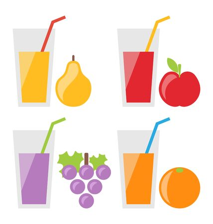 juice: Illustration Set of Fresh Fruit Juices: Pear Juice, Juice Apple, Juice Grapes, Orange Juice. Isolated on White Background - raster Stock Photo