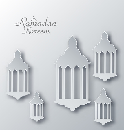 iftar: Illustration Paper Arabic Lamps with Shadows for Ramadan Kareem - raster