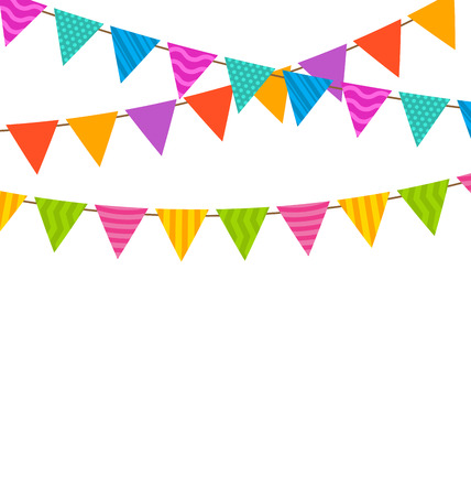 Illustration Set Colorful Buntings Flags Garlands with Ornamental Texture for Your Holiday - raster illustration
