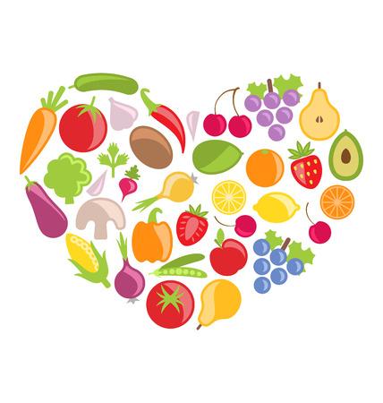 Illustration Set Colorful Vegetables and Fruits in Heart Shape - raster illustration