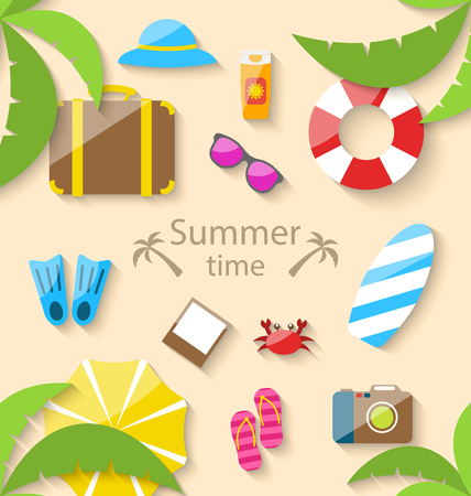 vacation time: Illustration Summer Vacation Time with Flat Set Colorful Simple Icons - raster