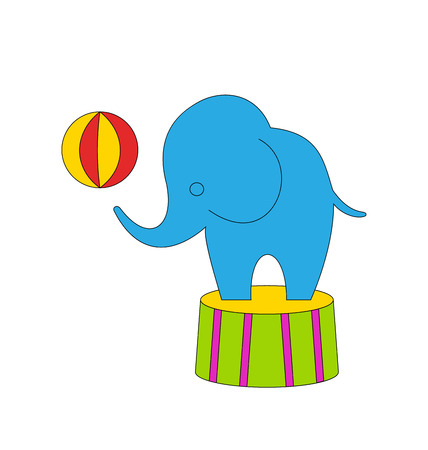 dexterous: Illustration Dexterous Circus Cartoon Elephant on Podium with Ball - raster