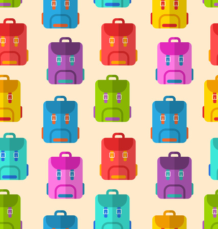 rucksacks: Illustration Seamless Pattern with Colorful School Rucksacks or Touristic Backpacks - raster Stock Photo