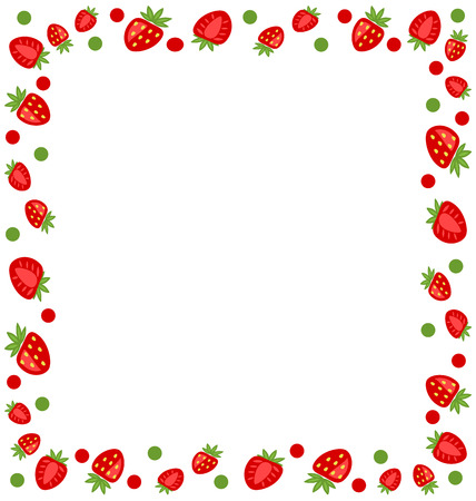 strawberry: Illustration Ornamental Frame Made of Strawberry with Copy Space for Your Text - raster