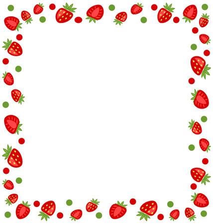 fresa: Ilustración ornamental del marco de fresas con espacio de copia para su texto - de trama Foto de archivo