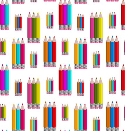 Illustration Seamless Pattern with Colorful Pencils - raster illustration