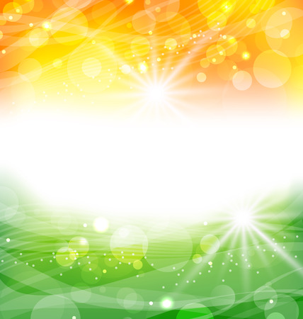 independence day: Illustration Abstract Background in Traditional National Colors of Flag for Indian Holidays - raster