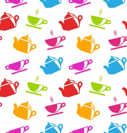 teacups: Illustration Seamless Texture with Teapots and Teacups, Colorful Wallpaper  - raster Stock Photo