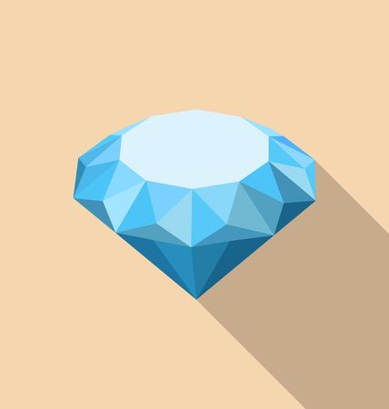 topaz: Illustration Flat Icon of Diamond with Long Shadow - raster