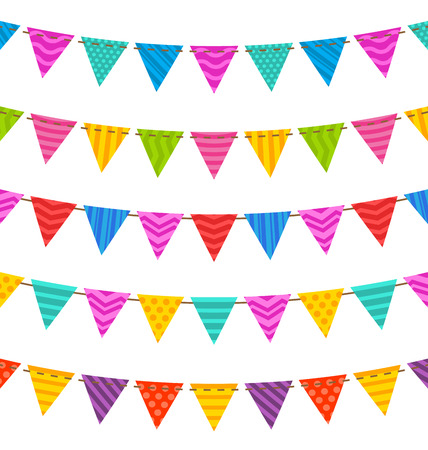 Illustration Group Hanging Bunting Party Flags, for Your Designs (Birthday Party, Wedding Celebration) - raster - raster Stock Photo