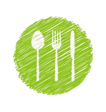 biologic: Illustration Green Vegetarian Restaurant Sign with Cutlery  raster Stock Photo