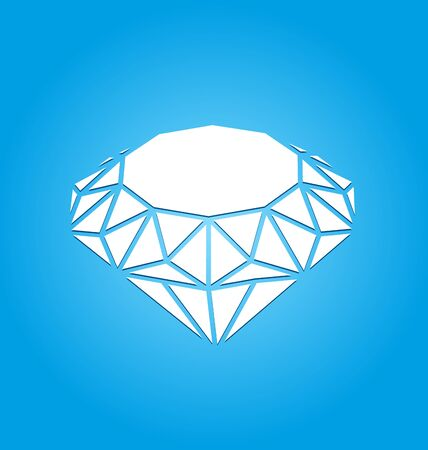 faceting: Illustration Flat Icon of Diamond on Blue Background  raster
