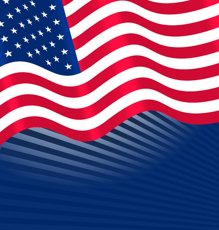 Flags USA Waving Wind and Ribbon for Independence Day 4th Patriotic Symbolic Vintage Decoration for Holiday or Celebration Backgrounds  raster Banco de Imagens