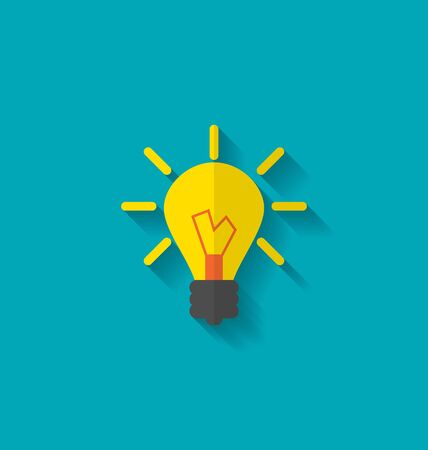 solve problems: Illustration Flat Icon of Lamp, Concept Process of Generating Ideas to Solve Problems, Birth of the Brilliant Ideas - raster Stock Photo