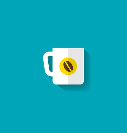 encasement: Illustration Flat Icon of Cup of Coffee with Long Shadow, Modern Style - raster