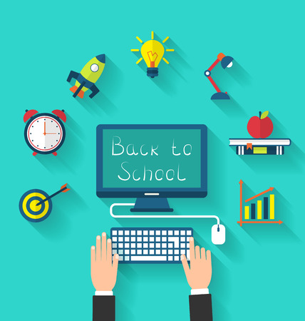 teaching: Illustration Flat Icons and Objects for High School and College Education with Teaching and Learning, Long Shadow Style Design - raster Stock Photo