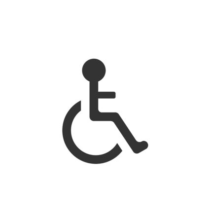 limited access: Illustration Pictogram of Disabled in Wheelchair, Isolated on White Background- raster