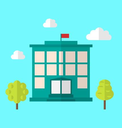 escuela edificio: Ilustración Escuela, paisaje urbano, moderno Icono de plano simple - de trama