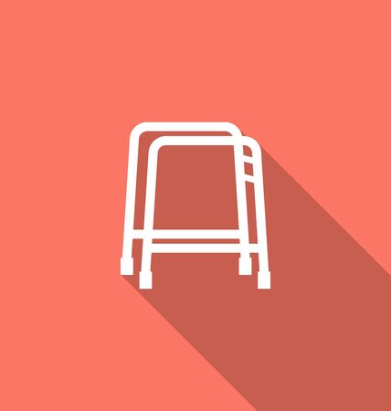 long recovery: Illustration Simple Flat Icon of Walker with Long Shadow - raster