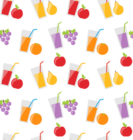 red grape: Illustration Seamless Pattern with Different Fresh Fruit Juices - raster
