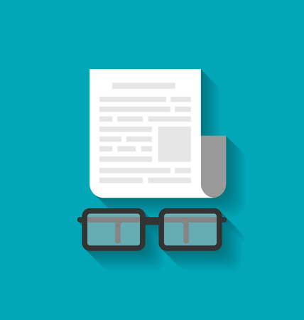 newspaper stack: Illustration Flat Icon of Paper Business Document and Eyeglasses, Modern Style - raster