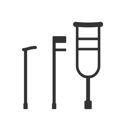 long recovery: Illustration Crutches and Canes, Pictograms Isolated on White Background - raster Stock Photo
