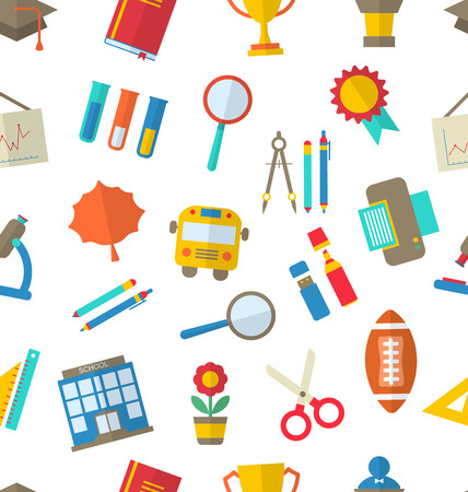 repeating background: Illustration Seamless Texture with School Colorful Simple Icons - raster