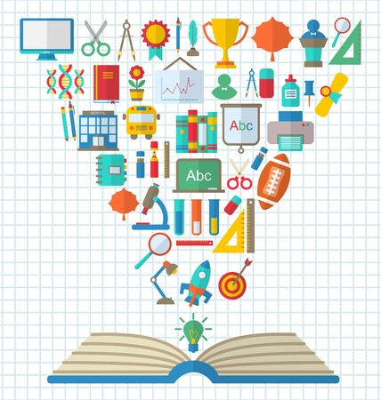 textbook: Illustration Set of Education Flat Colorful Simple Icons and Textbook - raster