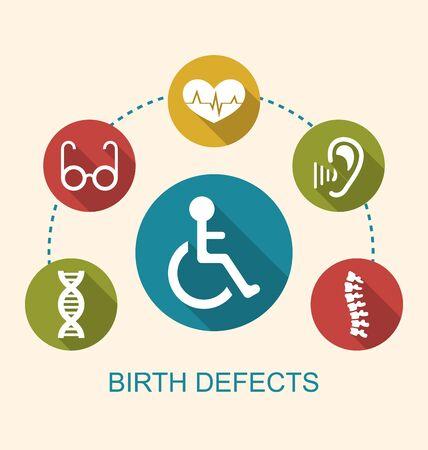 discapacidad: Ilustraci�n planas Iconos discapacitados con oportunidades limitadas y Defectos de Nacimiento - raster Foto de archivo