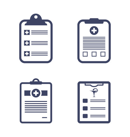 clipboard isolated: Illustrations Set of Medical Records Clipboard Isolated on White Background Illustration