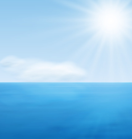 horizon reflection: Calm Blue Ocean and Far Clouds on Horizon Illustration