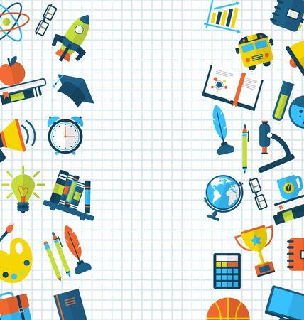 ball pens stationery: Conjunto de Educaci�n planos coloridos iconos simples en la hoja de papel cuadriculado School Vectores