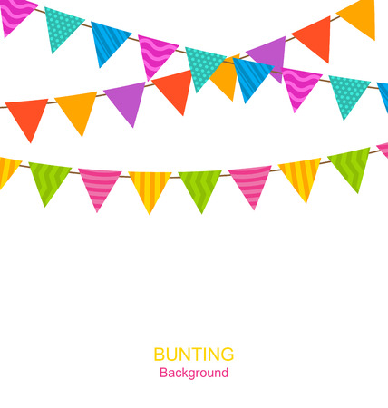 bunting: Illustration Colorful Buntings Flags Garlands