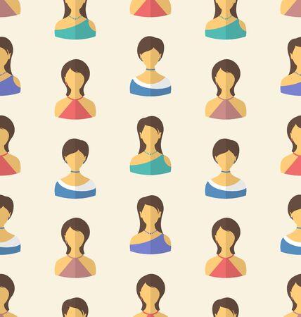 employe: Illustration Seamless Pattern Avatars Front Portraits of Females