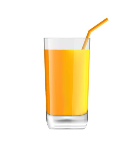 Illustration Orange Juice in Glass with Bend Straw, Isolated on White Background
