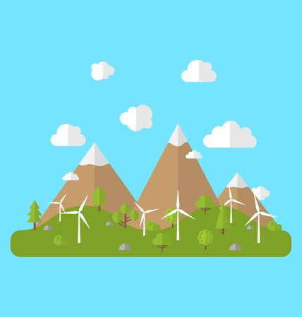 generators: Illustration Environment with Wind Generators, Green Valley, Trees, Mountain, Blue Sky. Concept of Alternative Energy Sources Stock Photo