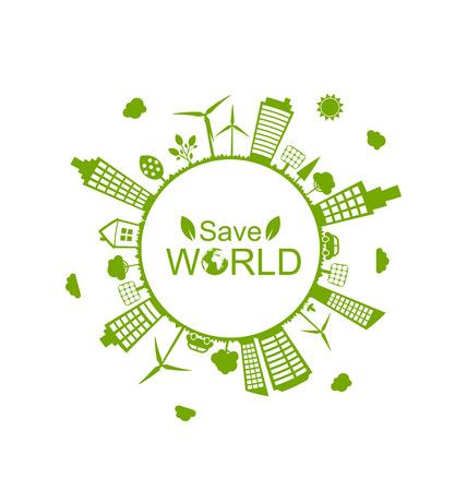 generators: Illustration Green Futuristic World, Concept. Environment with Solar Panels and Wind Generators - raster