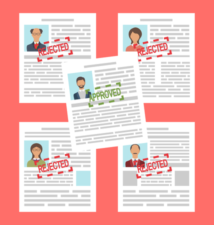rejection: Illustration Concept of Human Resources Management, Finding Professional Staff, Flat Simple Icons Stock Photo