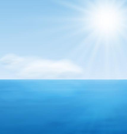 sun beach: Sea Landscape Background, Calm Blue Ocean and Far Clouds on Horizon