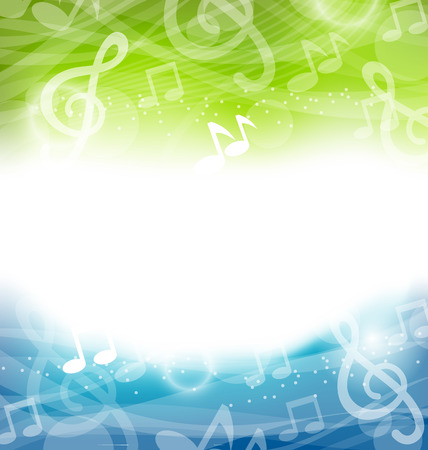 Illustration Abstract Art Background with Musical Elements