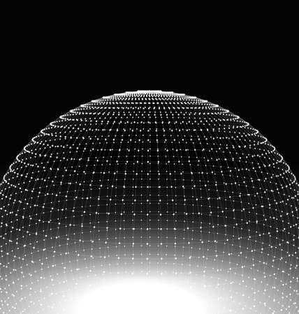 disconnect: Abstract Sphere Surface Wireframe Polygonal Lines and Dots. Futuristic Technology Style