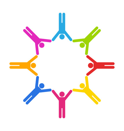 business partner: Illustration Team Colorful Simple Icons of People Connected, Unity Business People Stock Photo