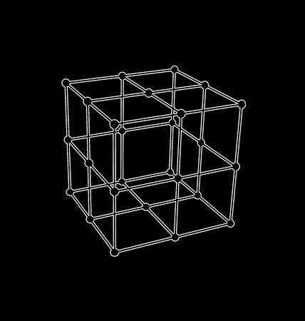 parallelepiped: Wireframe mesh polygonal element Cube with connected offset lines and dots - raster