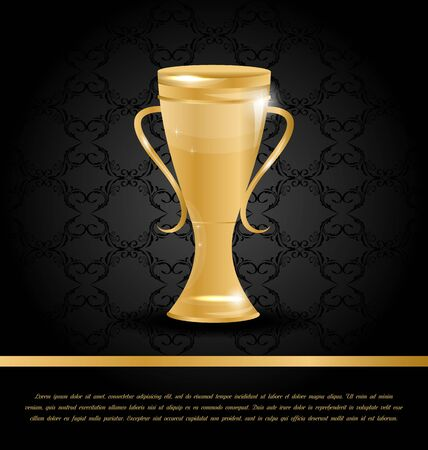 championship: Illustration Wealth Background with Golden Championship Cup Stock Photo